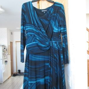 Jones New York Faux-Wrap Dress w/ Ruched at Side